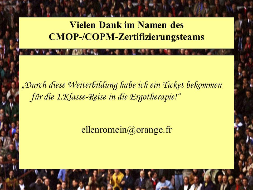 Vielen Dank im Namen des CMOP-/COPM-Zertifizierungsteams