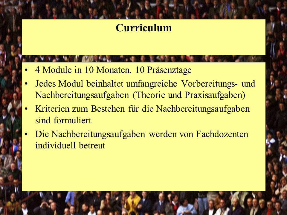Curriculum 4 Module in 10 Monaten, 10 Präsenztage