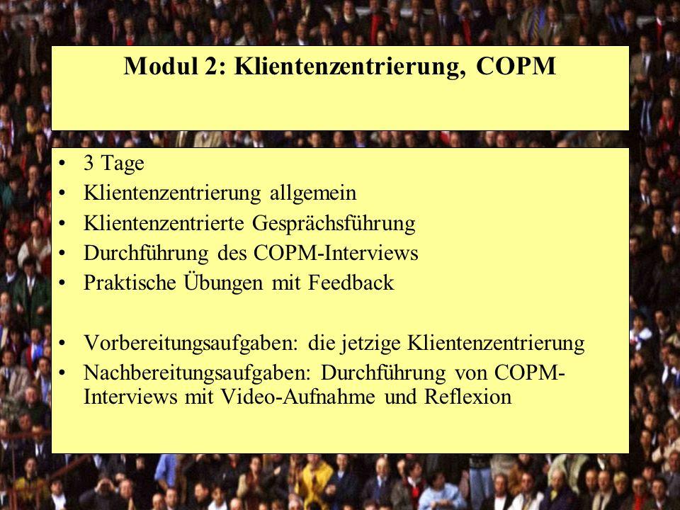 Modul 2: Klientenzentrierung, COPM