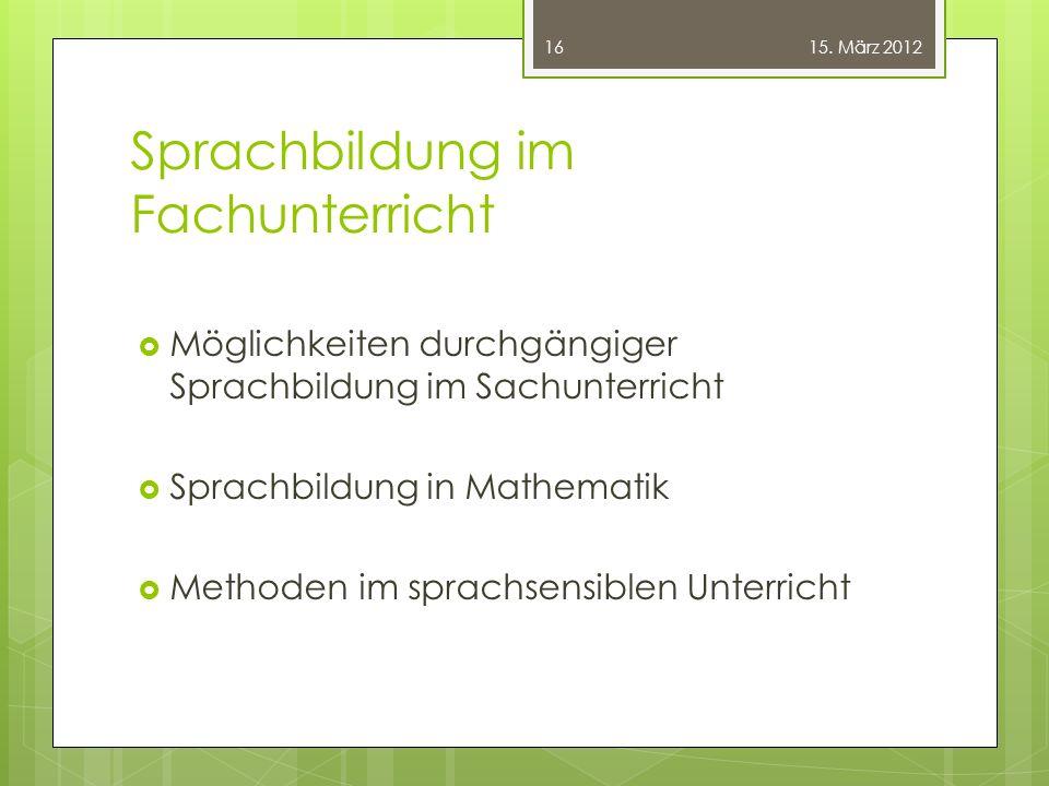 Sprachbildung im Fachunterricht