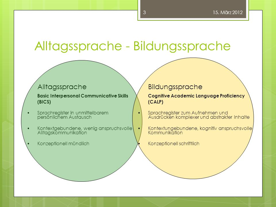 Alltagssprache - Bildungssprache