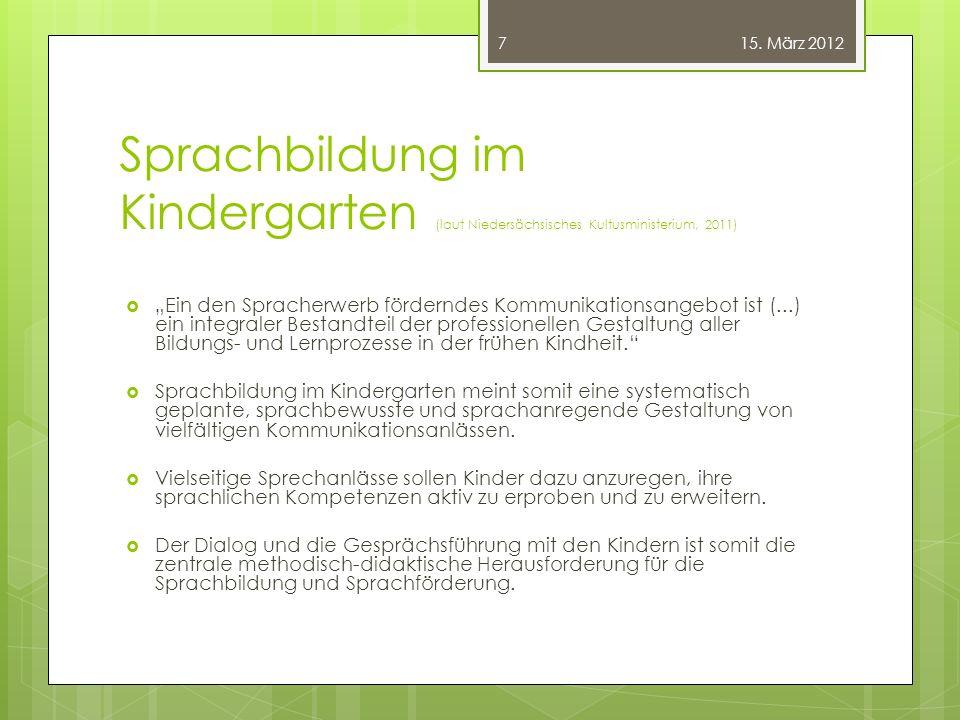 15. März 2012 Sprachbildung im Kindergarten (laut Niedersächsisches Kultusministerium, 2011)