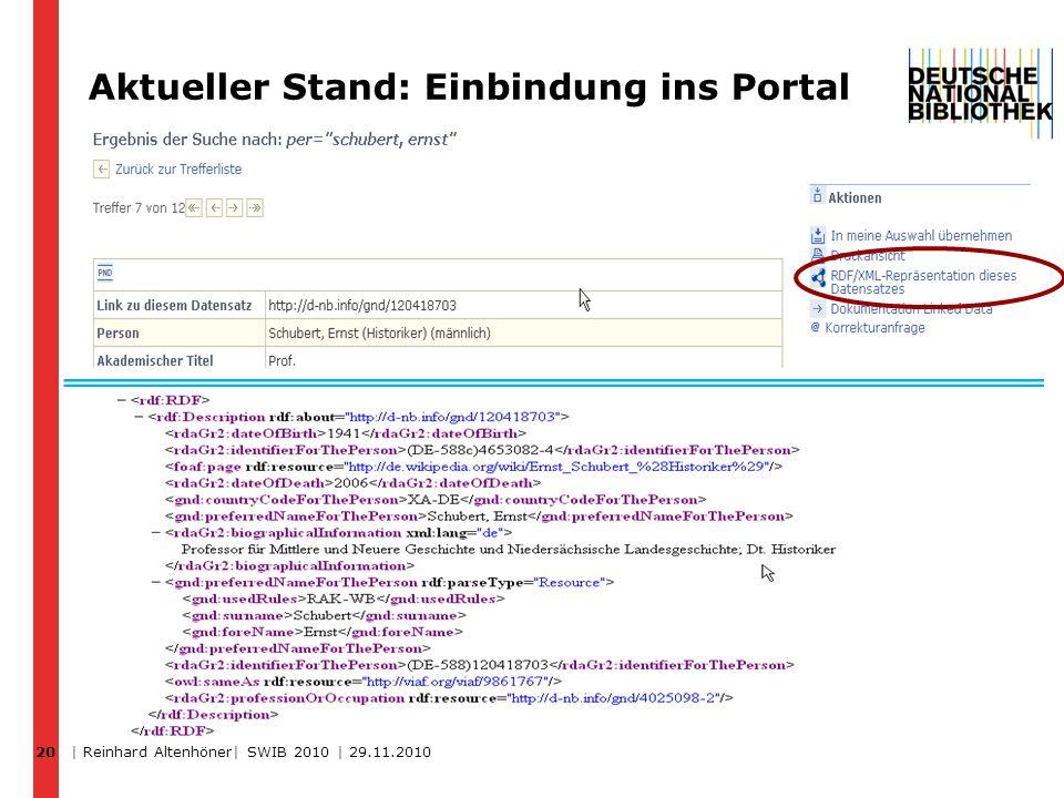 Aktueller Stand: Einbindung ins Portal