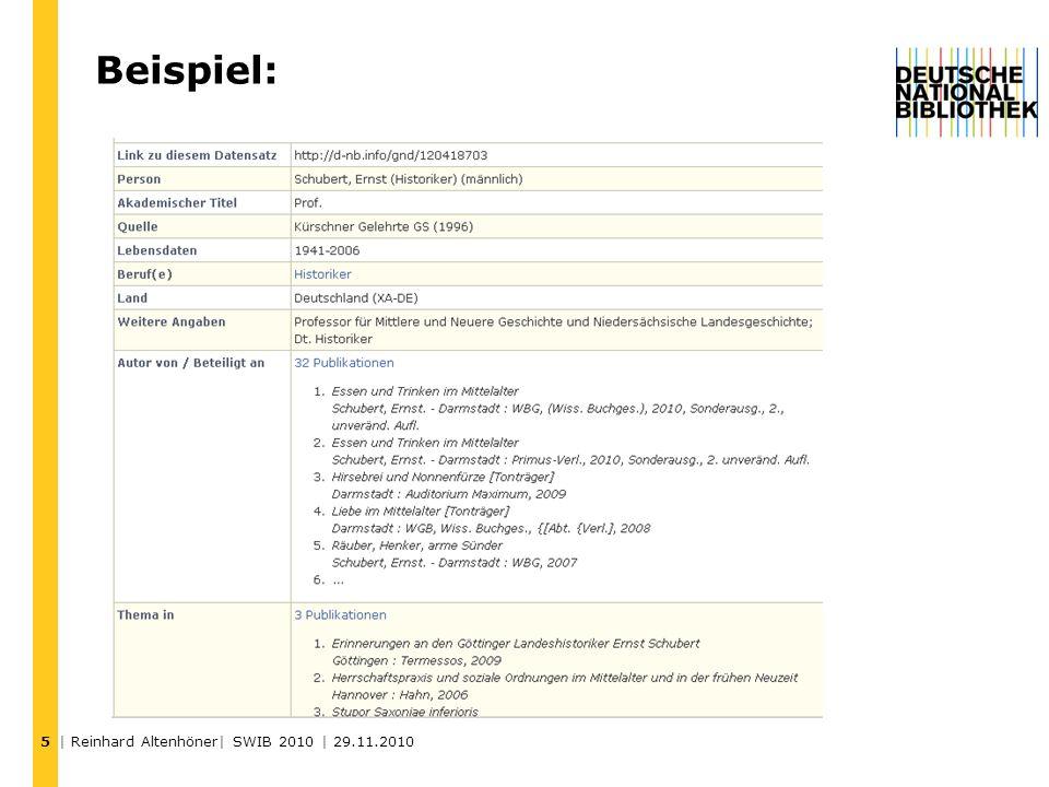 5 Beispiel: | Reinhard Altenhöner| SWIB 2010 | 29.11.2010