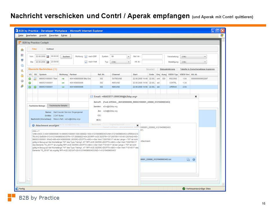 Nachricht verschicken und Contrl / Aperak empfangen (und Aperak mit Contrl quittieren)