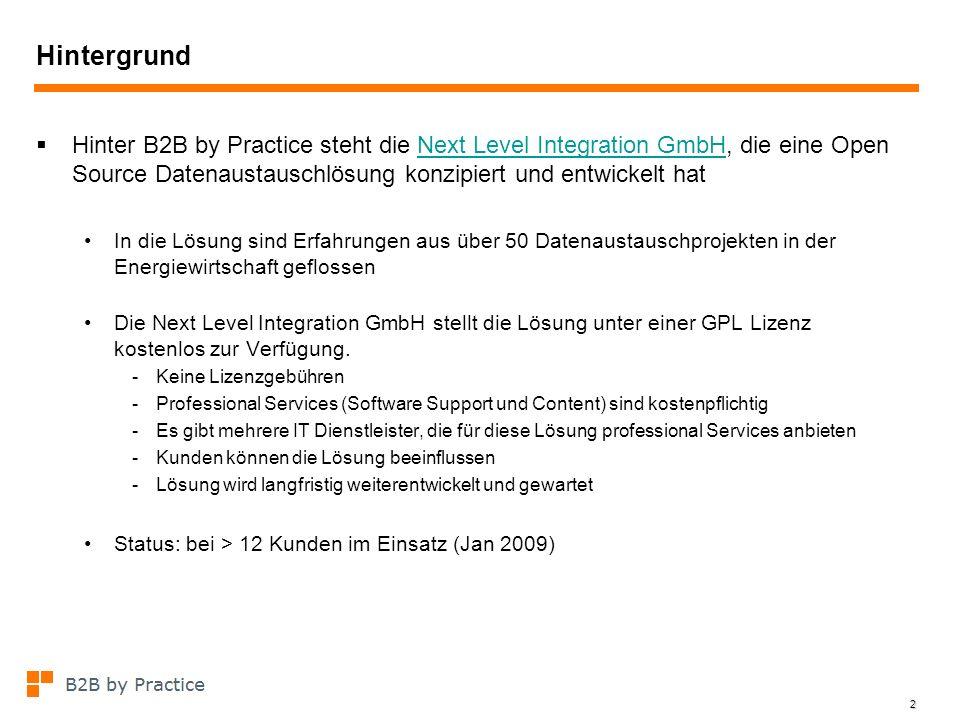 Hintergrund Hinter B2B by Practice steht die Next Level Integration GmbH, die eine Open Source Datenaustauschlösung konzipiert und entwickelt hat.