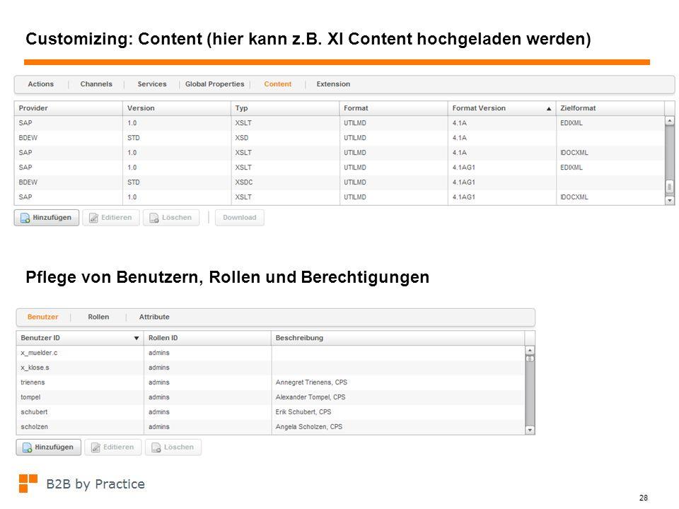 Customizing: Content (hier kann z.B. XI Content hochgeladen werden)