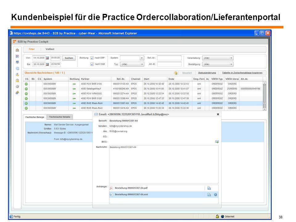 Kundenbeispiel für die Practice Ordercollaboration/Lieferantenportal