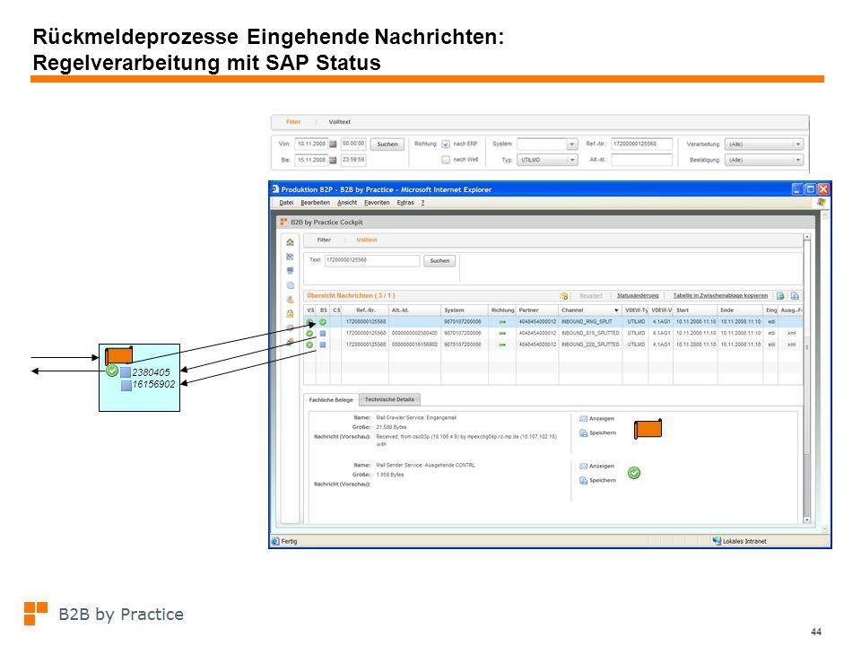 Rückmeldeprozesse Eingehende Nachrichten: Regelverarbeitung mit SAP Status
