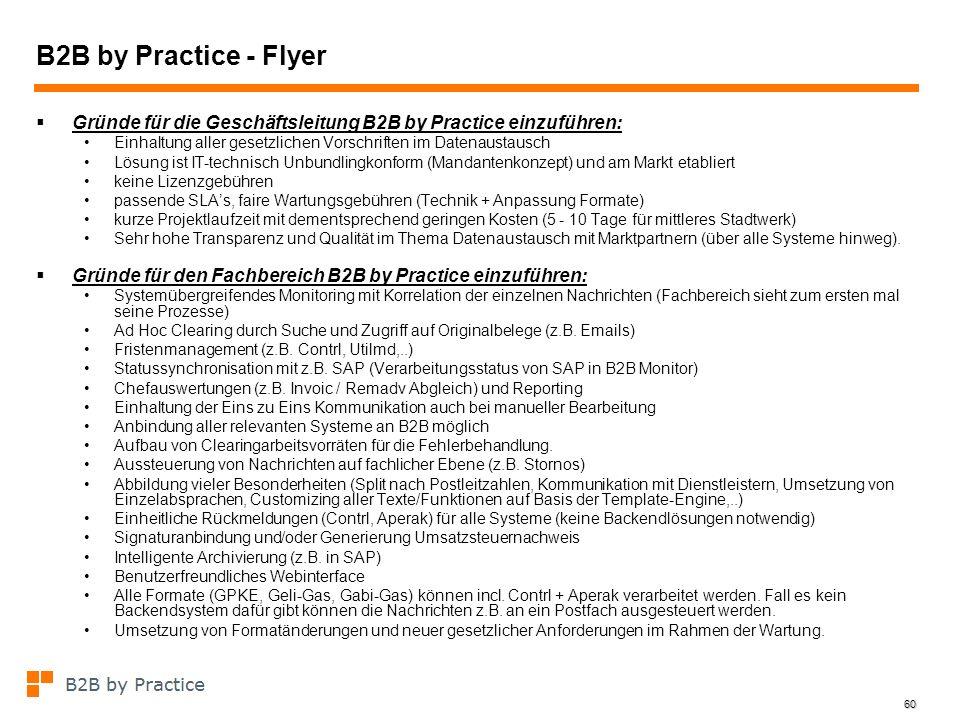 B2B by Practice - Flyer Gründe für die Geschäftsleitung B2B by Practice einzuführen: Einhaltung aller gesetzlichen Vorschriften im Datenaustausch.