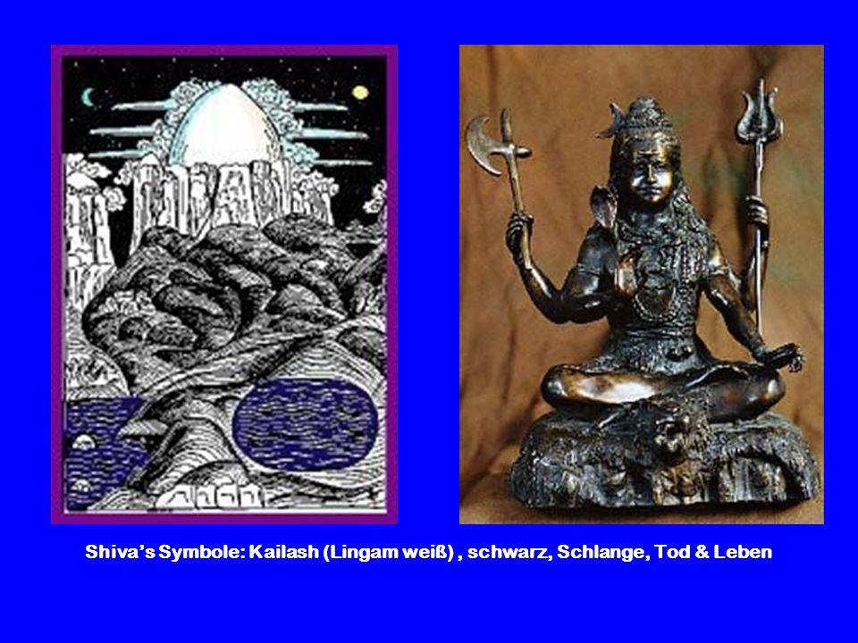 Shiva's Symbole: Kailash (Lingam weiß) , schwarz, Schlange, Tod & Leben