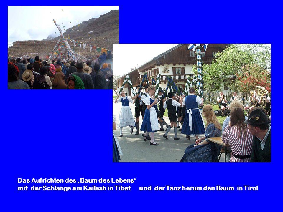 Das Aufrichten des 'Baum des Lebens' mit der Schlange am Kailash in Tibet und der Tanz herum den Baum in Tirol