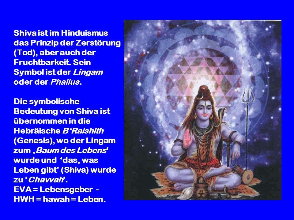 Shiva ist im Hinduismus das Prinzip der Zerstörung (Tod), aber auch der Fruchtbarkeit.