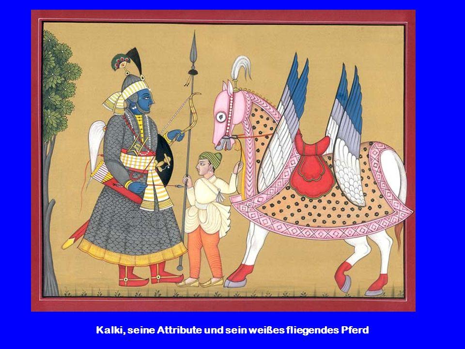 Kalki, seine Attribute und sein weißes fliegendes Pferd