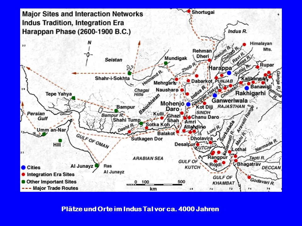 Plätze und Orte im Indus Tal vor ca. 4000 Jahren