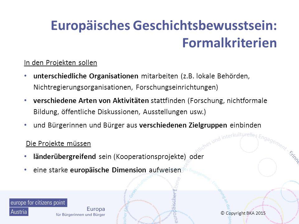 Europäisches Geschichtsbewusstsein: Formalkriterien
