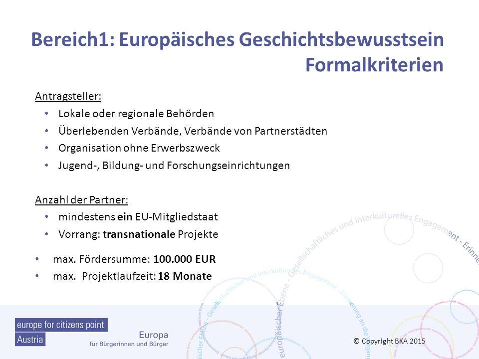 Bereich1: Europäisches Geschichtsbewusstsein Formalkriterien