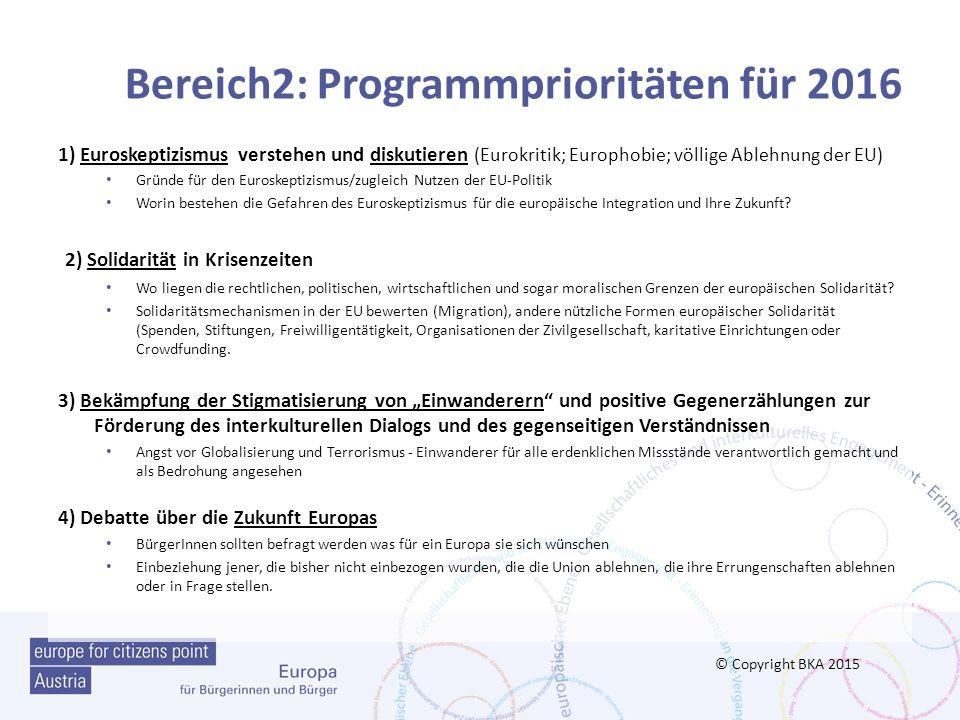 Bereich2: Programmprioritäten für 2016