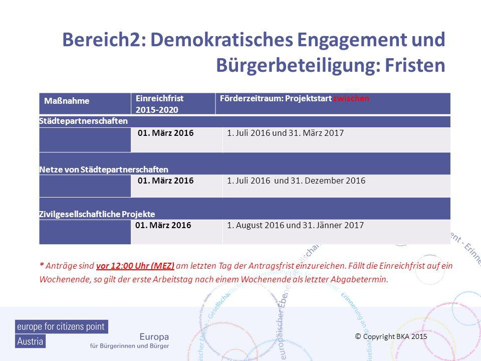 Bereich2: Demokratisches Engagement und Bürgerbeteiligung: Fristen