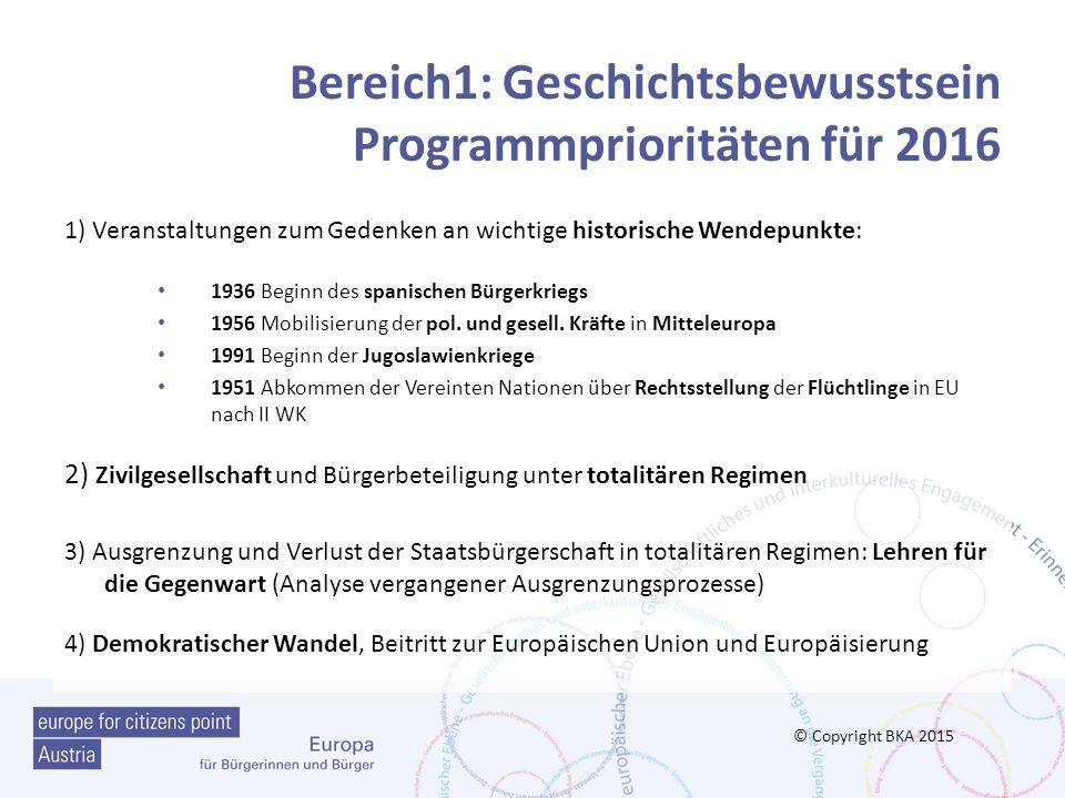 Bereich1: Geschichtsbewusstsein Programmprioritäten für 2016