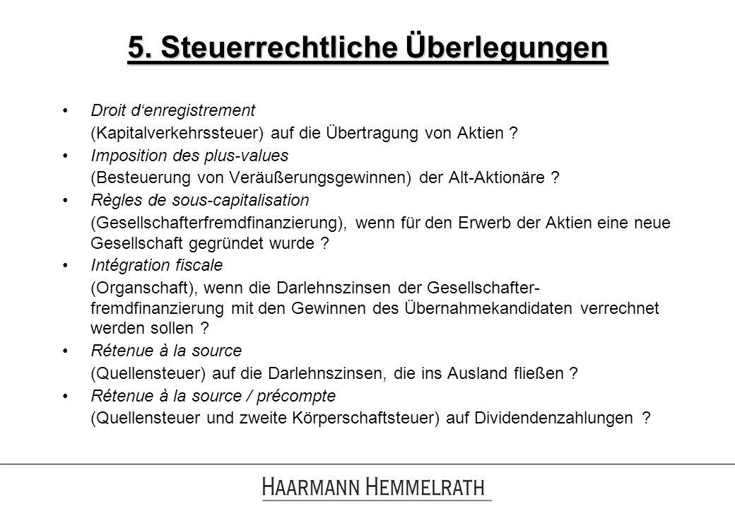 5. Steuerrechtliche Überlegungen