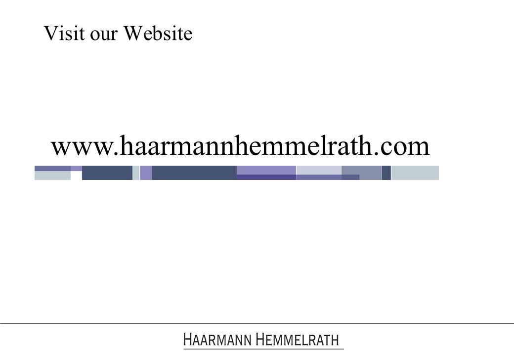 Visit our Website www.haarmannhemmelrath.com
