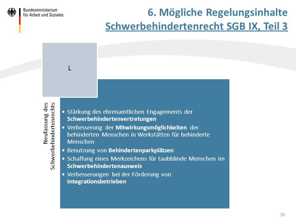 6. Mögliche Regelungsinhalte Schwerbehindertenrecht SGB IX, Teil 3