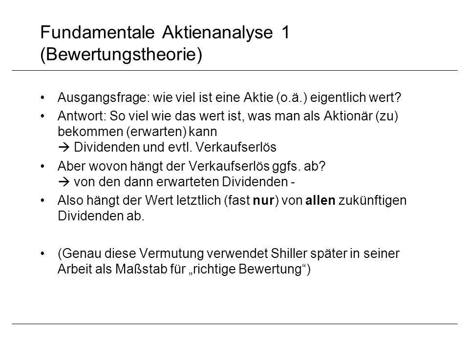 Fundamentale Aktienanalyse 1 (Bewertungstheorie)