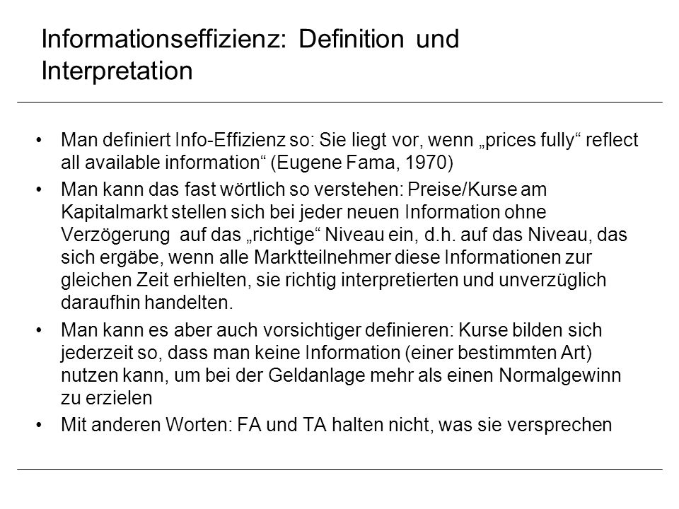 Informationseffizienz: Definition und Interpretation