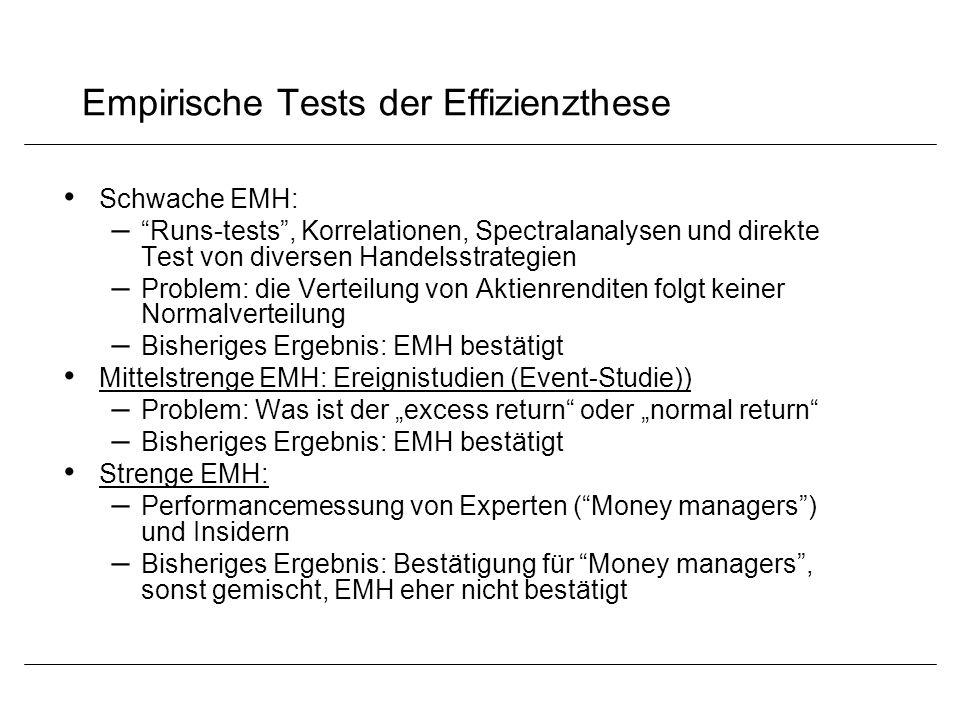 Empirische Tests der Effizienzthese