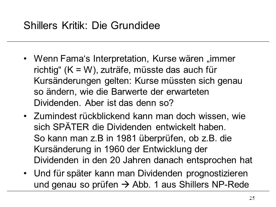 Shillers Kritik: Die Grundidee
