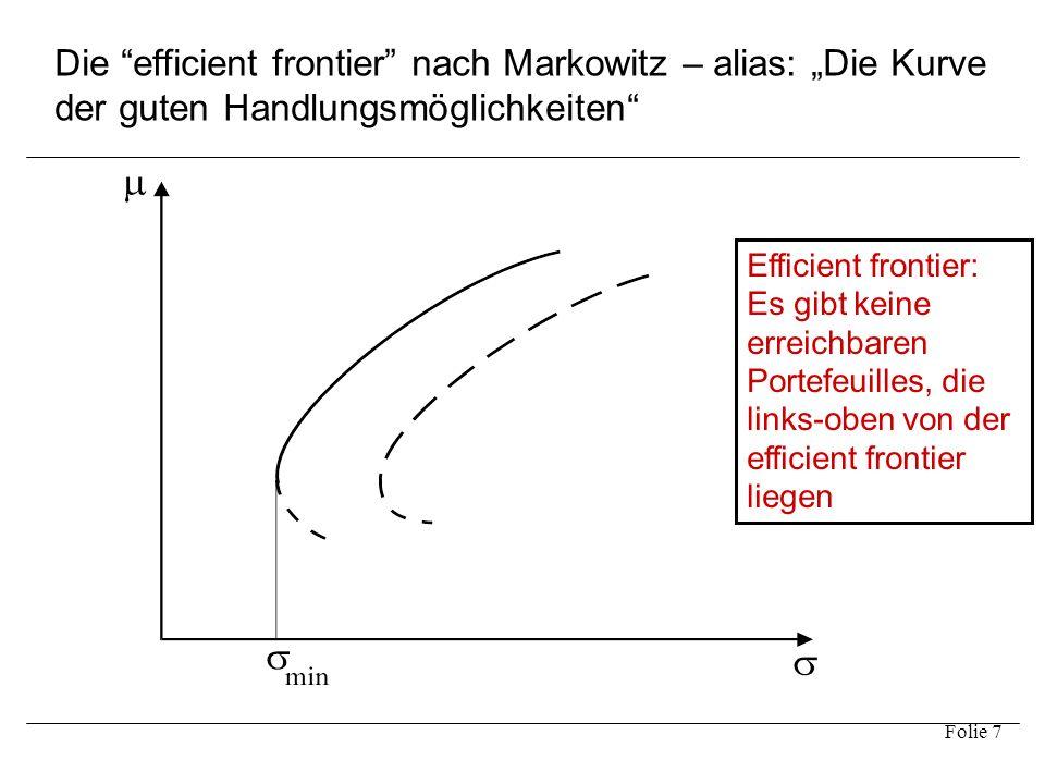 """Die efficient frontier nach Markowitz – alias: """"Die Kurve der guten Handlungsmöglichkeiten"""