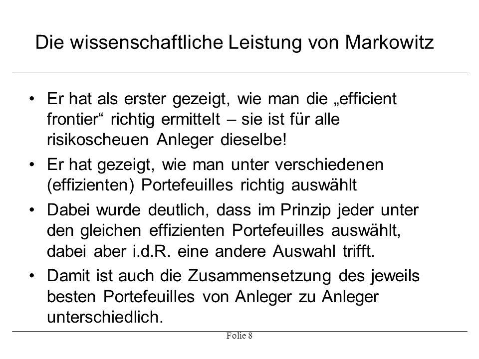Die wissenschaftliche Leistung von Markowitz