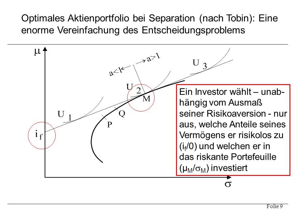 Optimales Aktienportfolio bei Separation (nach Tobin): Eine enorme Vereinfachung des Entscheidungsproblems
