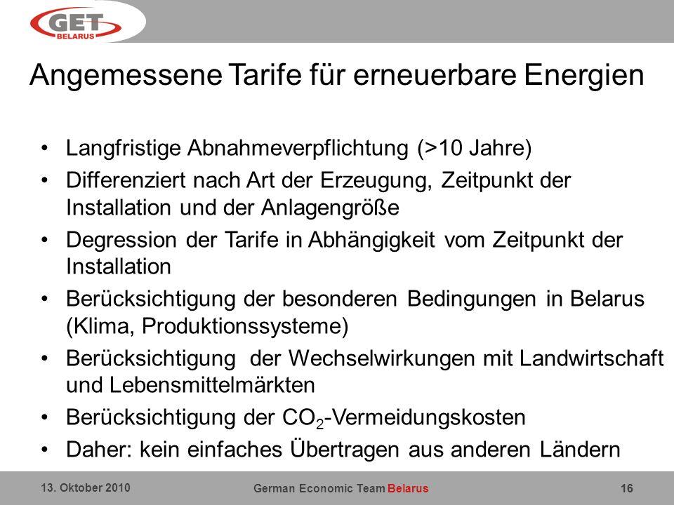 Angemessene Tarife für erneuerbare Energien