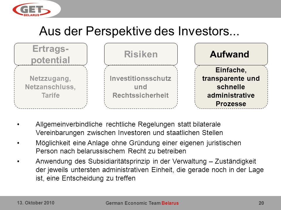 Aus der Perspektive des Investors...