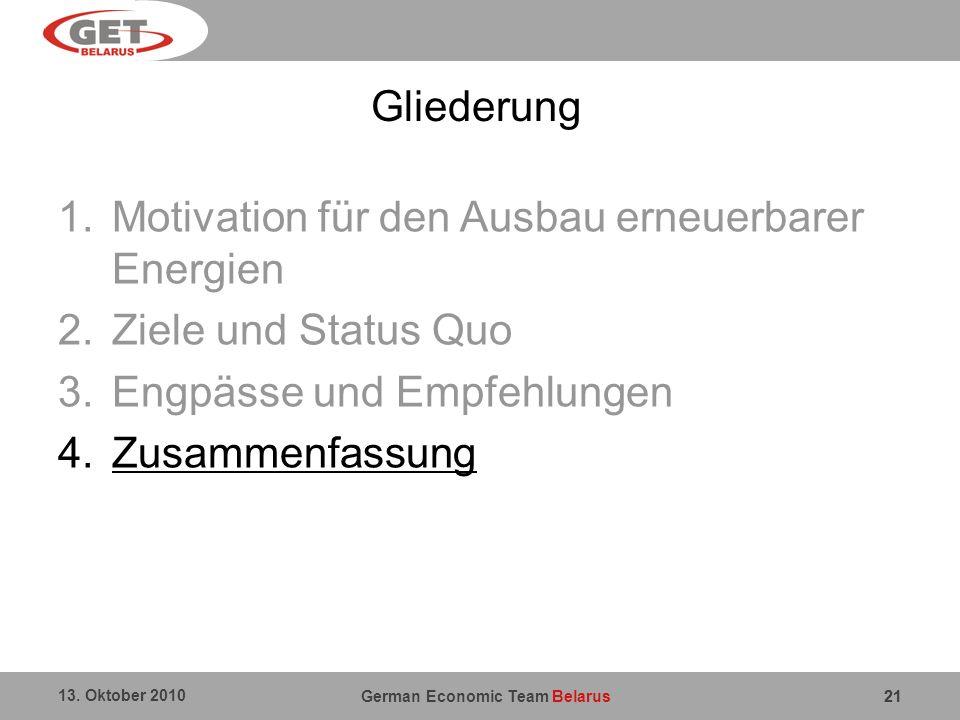 Motivation für den Ausbau erneuerbarer Energien Ziele und Status Quo