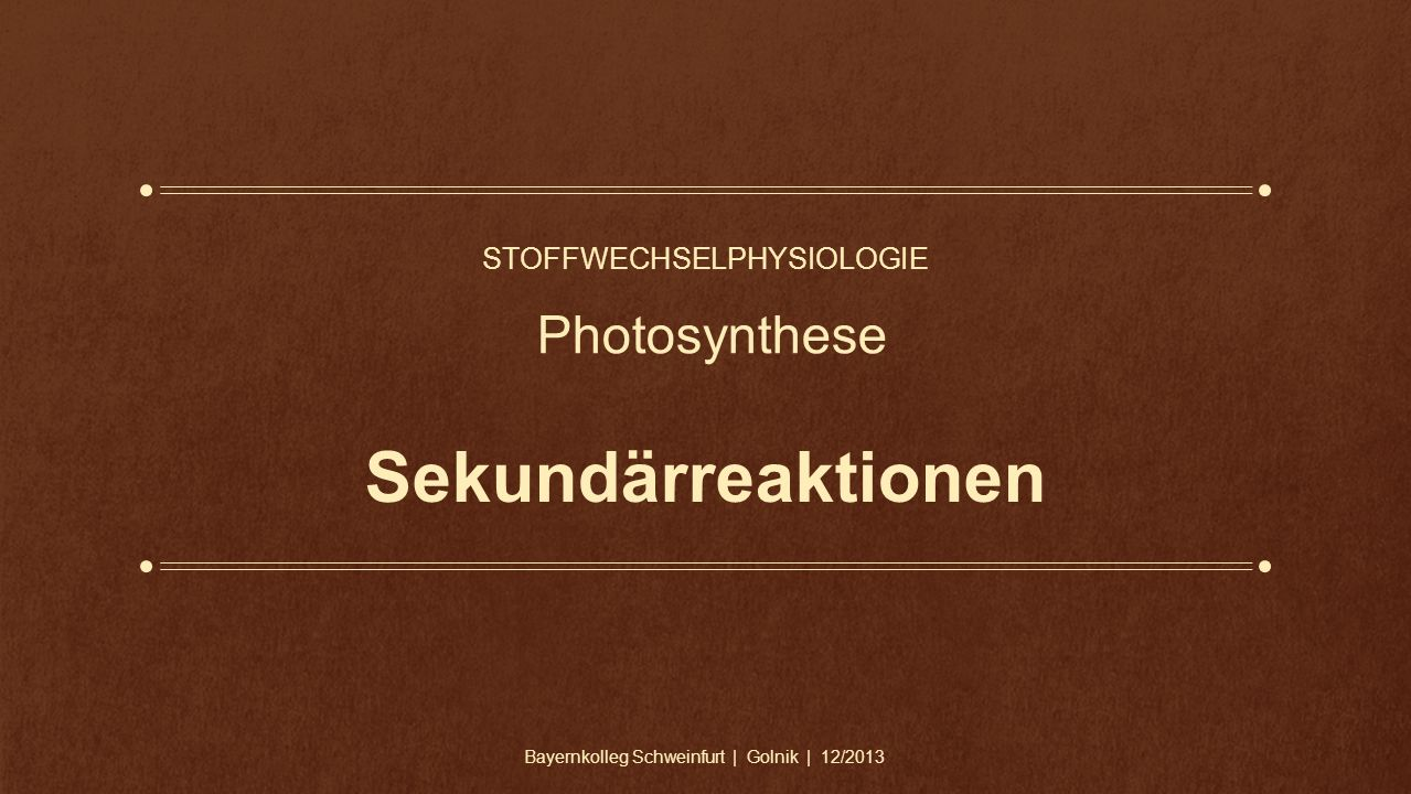 Stoffwechselphysiologie Photosynthese