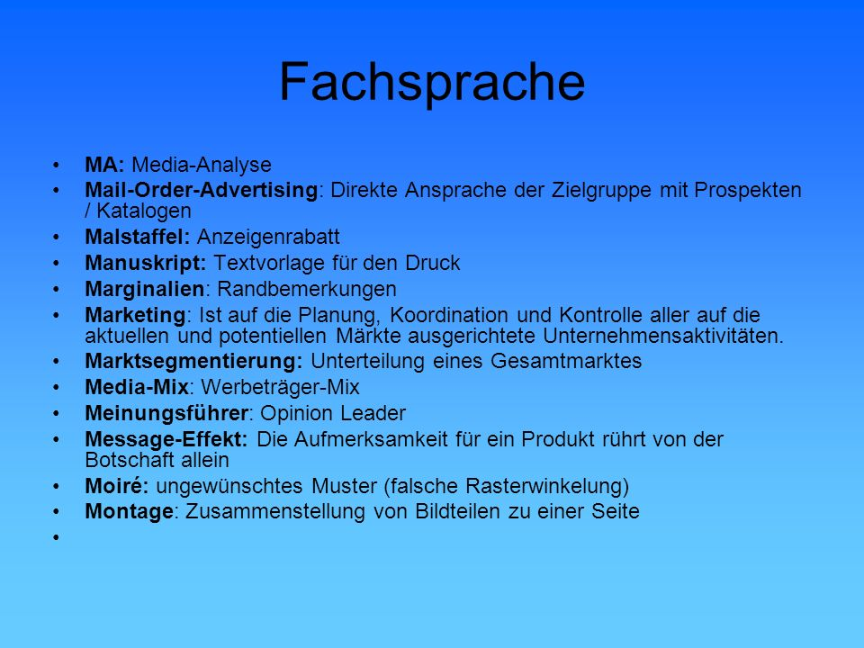 Fachsprache MA: Media-Analyse