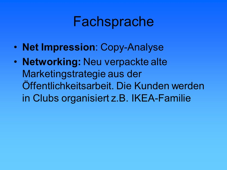 Fachsprache Net Impression: Copy-Analyse