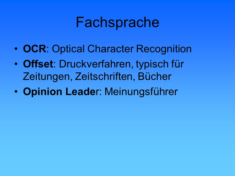 Fachsprache OCR: Optical Character Recognition