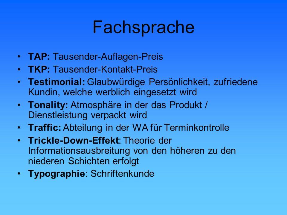 Fachsprache TAP: Tausender-Auflagen-Preis TKP: Tausender-Kontakt-Preis