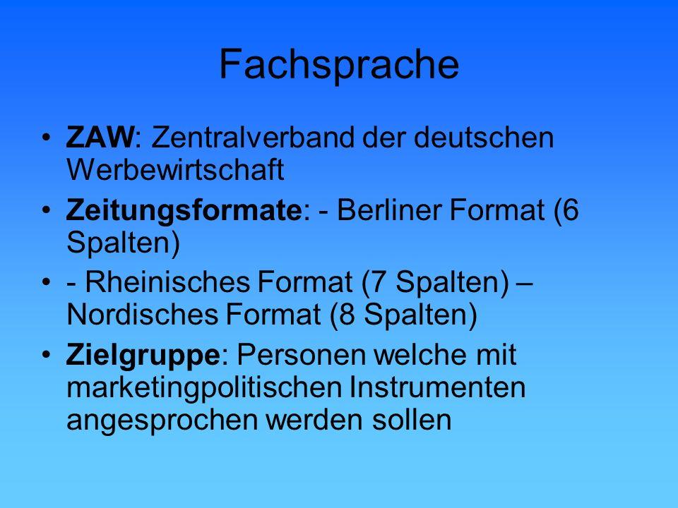 Fachsprache ZAW: Zentralverband der deutschen Werbewirtschaft