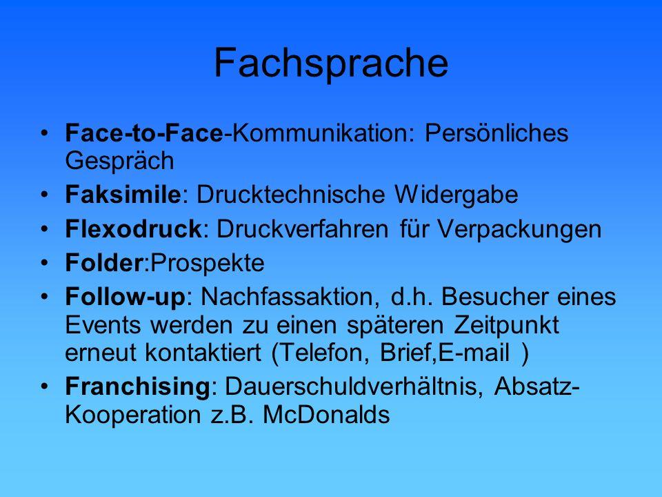 Fachsprache Face-to-Face-Kommunikation: Persönliches Gespräch