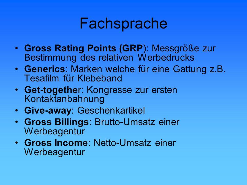 Fachsprache Gross Rating Points (GRP): Messgröße zur Bestimmung des relativen Werbedrucks.