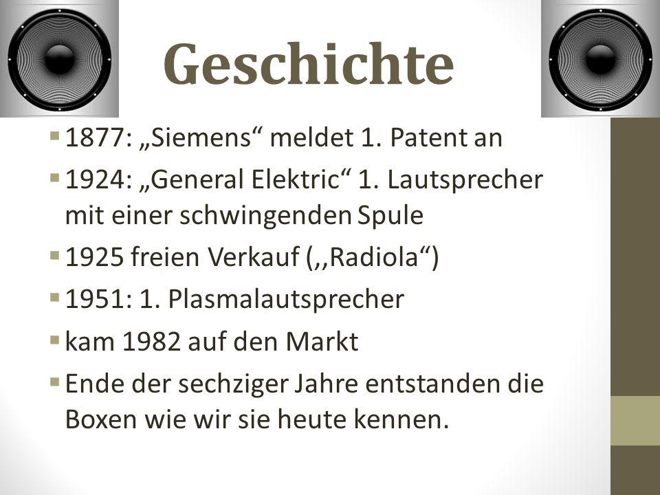 """Geschichte 1877: """"Siemens meldet 1. Patent an"""