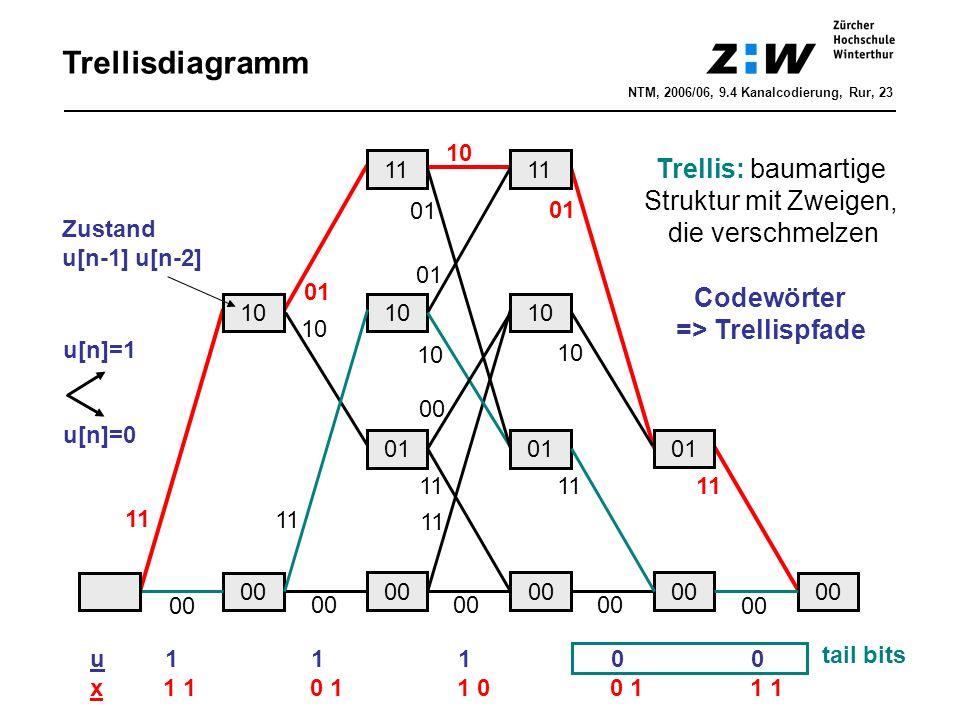 Trellisdiagramm Trellis: baumartige Struktur mit Zweigen,