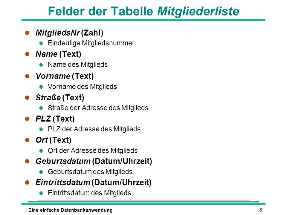 Felder der Tabelle Mitgliederliste