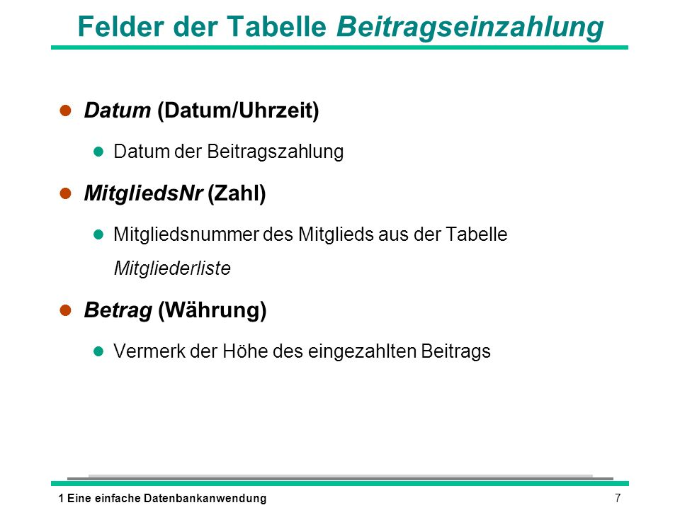 Felder der Tabelle Beitragseinzahlung