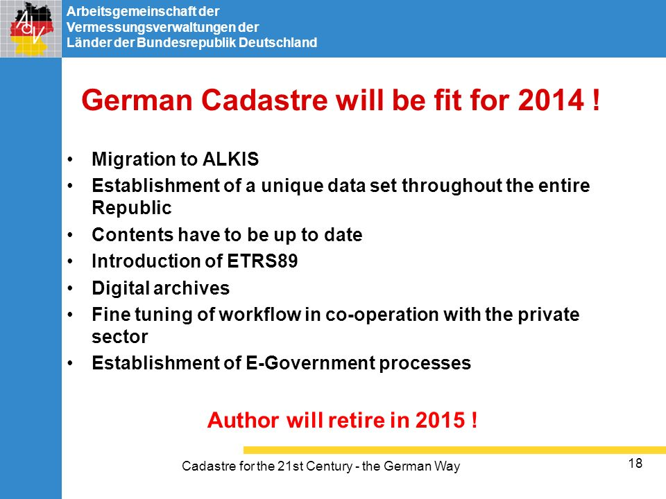 German Cadastre will be fit for 2014 !